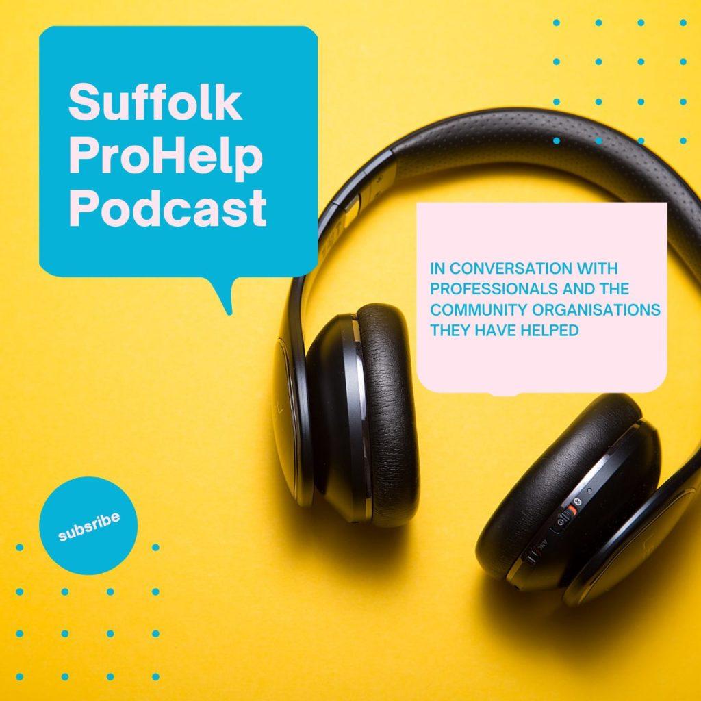 Graphic of headphones advertising podcast