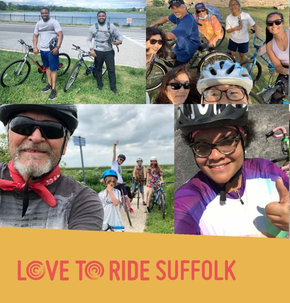 Image shows four photos of people smiling on bikes in the countryside. Underneath is the caption 'Love to Ride Suffolk'